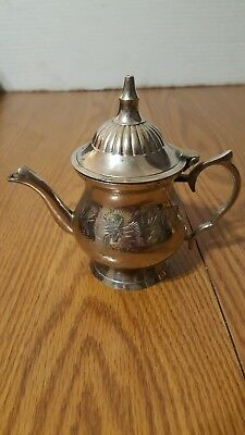 small single serve silver plated tea pot from india