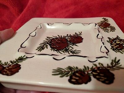 Pr Vintage MCM Ceramic Pine Tree Cone Wall Pockets Ashtrays Lodge Cabin in Woods
