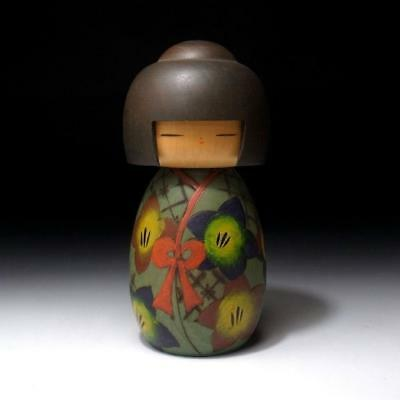 CP8: Vintage Japanese Wooden Woman Kokeshi Doll, 6.8 inches tall
