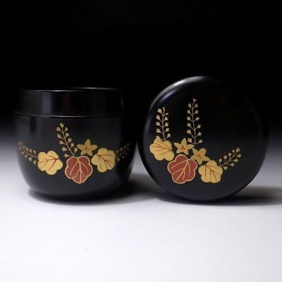 AF3: Vintage Japanese Lacquered Wooden Tea Caddy, NATSUME, MAKIE, Paulownia