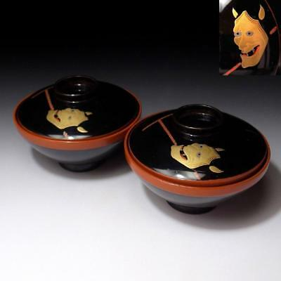 CC4 Vintage Japanese Lacquered Wooden Covered Bowls, MAKIE, Hannya Mask