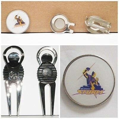 2 only MELBOURNE STORM  GOLF BALL MARKERS +  A NICE  DIVOT TOOL &  HAT CLIP SET
