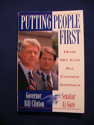 HILLARY RODHAM CLINTON SIGNED Putting People First Book (Full Signature)