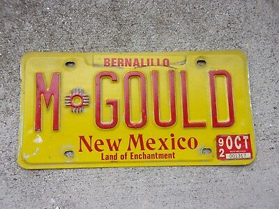 New Mexico vanity License Plate  #  M  GOULD