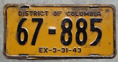 District of Columbia 1942 / 43 license plate # 67 - 885