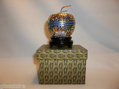 Vintage Chinese Enamel CLOISONNE Apple Trinket Box MIB Carved Wood Stand