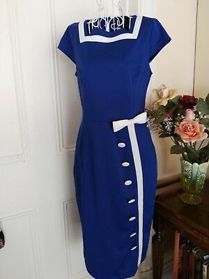 Retro Blue & White Dress With Large Buttons & A Bow By Nature