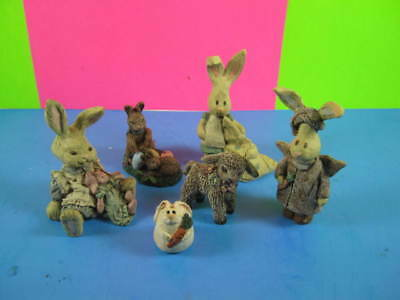 6 Sarah's Attic Brand assorted Animal Figurines - made in USA - from the 1990's