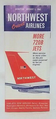 Vintage August 1, 1961 Northwest Orient Airlines Service Map