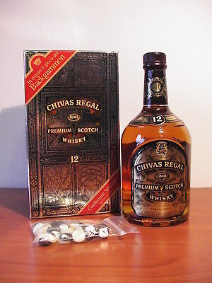 Chivas Regal Premium Scotch Whisky 12 anni con gioco Backgammon, vintage.