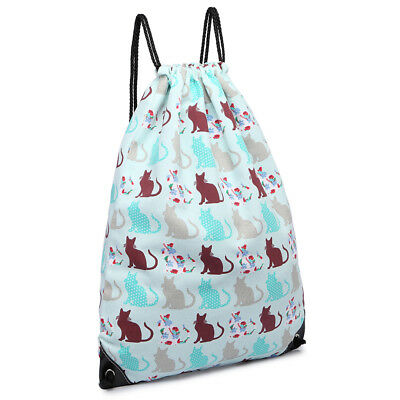 Canvas Unisex Backpack Cat Print Drawstring Casual School Bag Shopping Gym Sport
