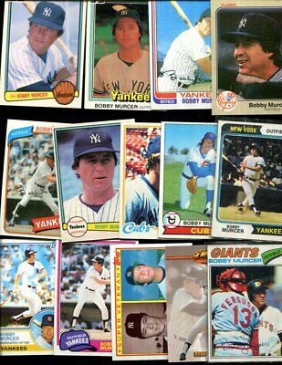 Bobby Murcer  Lot Of 16 All Different Baseball Cards Giants  Yankees Oklahoma