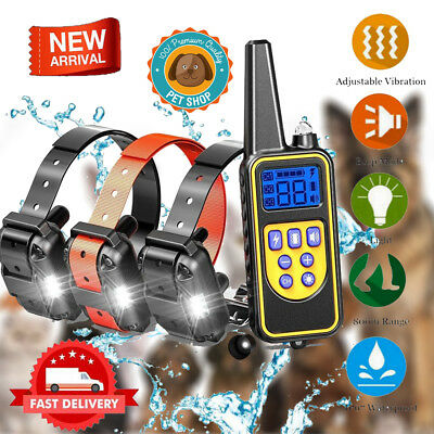 880M Pet Dog Training Shock Bark Collar Waterproof Rechargeable Remote Control