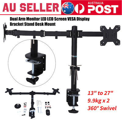 "13-27"" Dual Arm Monitor LED LCD Screen VESA Display Bracket Stand Desk Mount NEW"