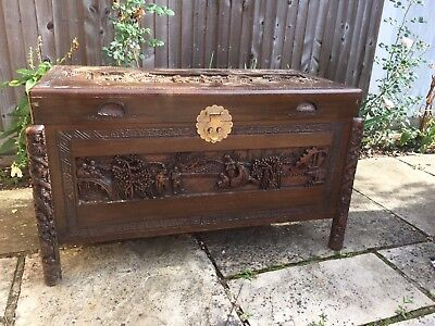 Antique Chinese Carved Chest Camphor Wood Box Blanket