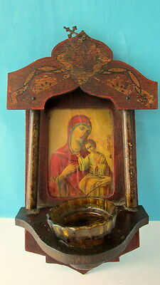 Old Orthodox iconostasis print icon of Virgin Mary & Child With Glass Oil Cup