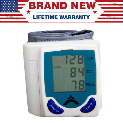 US Automatic Digital Wrist Blood Pressure Monitor BP Cuff Machine Gauge fits all