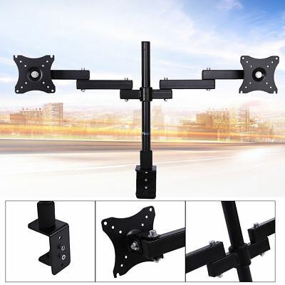 """14""""-24"""" HD LED Desk Monitor Stand Mount Bracket 2 Arms Holds Two LCD TV Screen"""