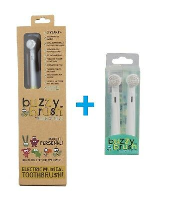 Jack n Jill Buzzy Brush Electric Musical Toothbrush + Replacement Heads 2pk