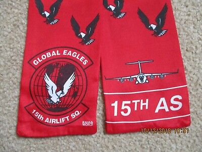Original Air Force Squadron Pilot Scarf Usaf 15 As Airlift Sqn C-5A Galaxy