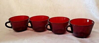 Set Of 4 Vintage Ruby Red Glass Coffee Mugs