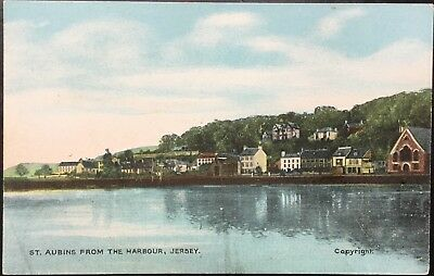 St Aubins From The Harbour, Jersey CI - Antique Postcard