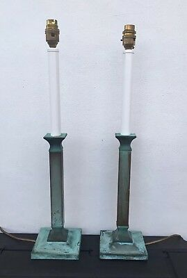 A Pair Of Bronze Antique Verdigre Style Tall Candlestick Lamps (Need Wiring)