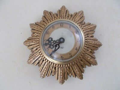 Vintage Mid Century Smiths Sectric Gold Sunburst Clock battery operated