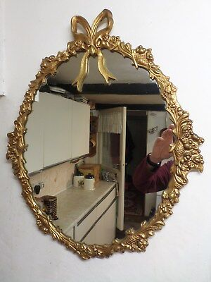 Beautiful French Style Gold / Gilt Metal Wall Mirror With Bow Design Frame