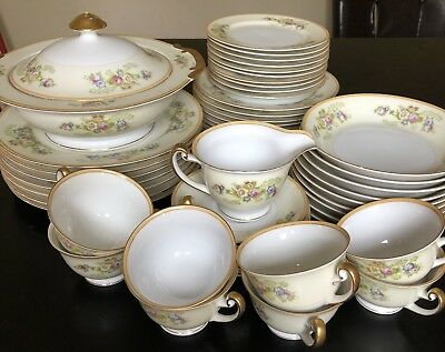 48 Piece Set Vintage Hand-Painted Meito Fine China Made in Japan Flowers