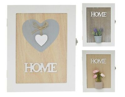 New Wall Mounted 'HOME' Wooden 6 Key Cabinet Keyhole Box