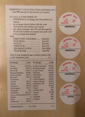 GPO type Dialling Code Card for Bakelite 200/300 type telephones - 'Emmerdale'