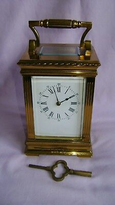 Antique French Brass Striking Carriage Clock, + Key In Good Working Order