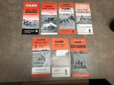 Vintage Lot of 7 Case Harrows, Rotary Hoes, Roller Packers Ect Brochure 1950's