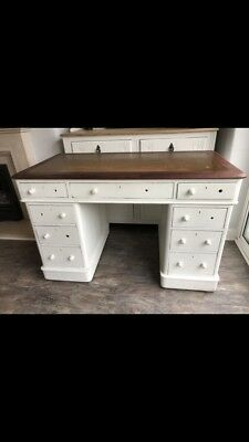 Antique Leather Top Desk Painted Old White With 9 Drawers