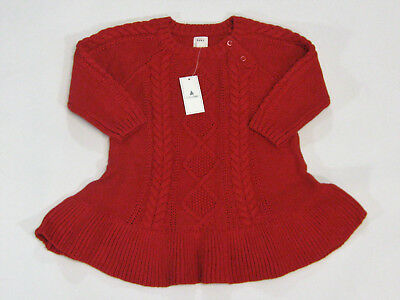 b73fdcc3a537 NWT BABY GAP Girls  Size 6-12 Mos Christmas Winter Red Cable Knit ...