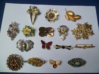 Large Collection Of Vintage & Modern Brooches Bundle Job Lot of 16. VG mixed