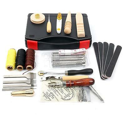 59PCS Leather Craft Hand Tools Kit for Stamping Stitching Carving Sewing etc.