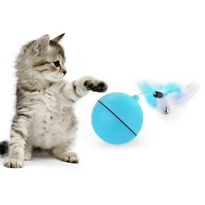 LED Pet Cat Ball USB Rechageable Interactive Funny Automatice Toy Blue PS341