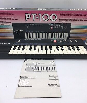 Vintage Retro 80's CASIO PT-100 Electronic Synthesizer Keyboard NO CORD W/Box