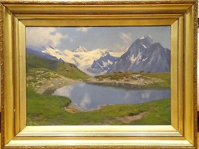19th Century Swiss French Alps Mountain Lake Landscape Fritz Edouard HUGUENIN