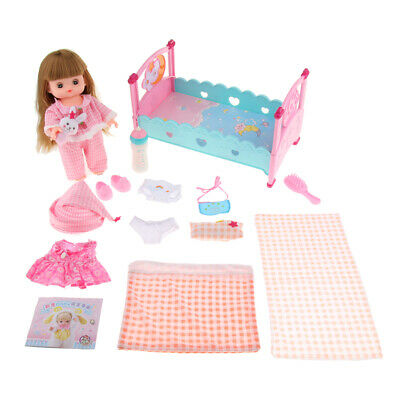 Pretend Play Doll Girl Bed Cot Clothes Set for Kids Play Mummy Creative Toy