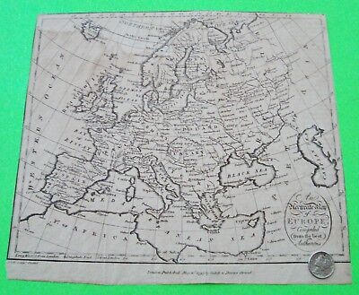 """ORIGINAL 1797 MAP OF EUROPE by CADELL & DAVIES London 9"""" X 8"""" VERY DETAILED Nice"""