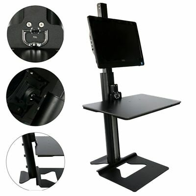 YaeKoo Stand Steady Single Monitor Mount Sit-Stand Desk (H100) ,Black/Silver