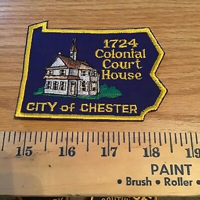 Old Chester City Pa Pennsylvania Police Patch State Shaped