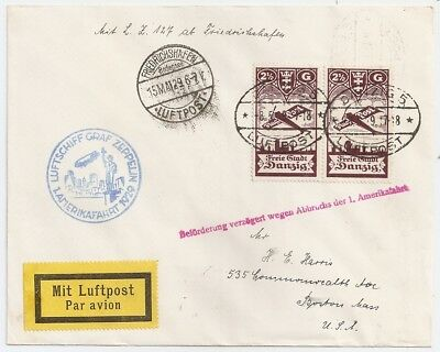 1929 Danzig Germany To Usa Zeppelin Cover, Superb Color Cancels !!