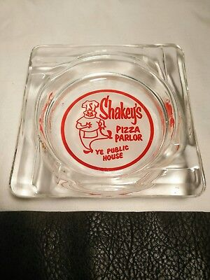 Vintage Advertising Shakey's Pizza Parlor glass ashtray excellent condition