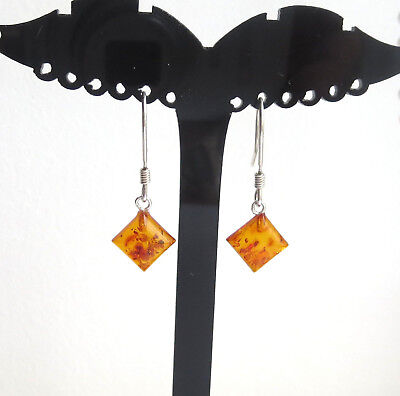 """Natural  Baltic Amber Earrings Sterling Silver 925 - 1.2 """""""