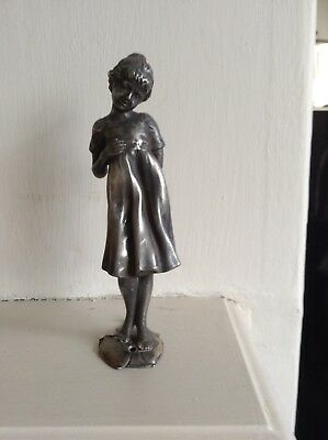 WMF 1900s Pewter Art Nouveau Silver Plated Figurine Of A Girl