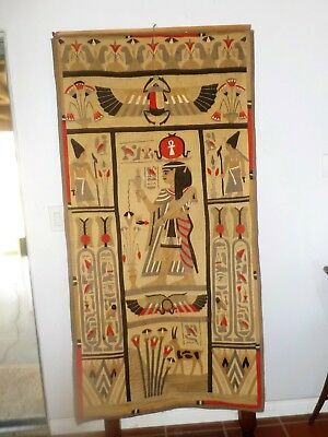 """Antique Egyptian Wall Hanging Tapestry - Handwoven applique. 1920's 69x35"""""""